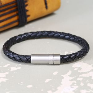 Engraved Men's Black Leather Cartridge Bracelet