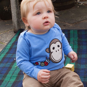 Blue Organic Long Sleeve Tee With Monkey+Bob - on safari