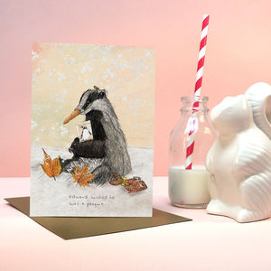 'Christmas Critters' Edward Badger Greeting Card