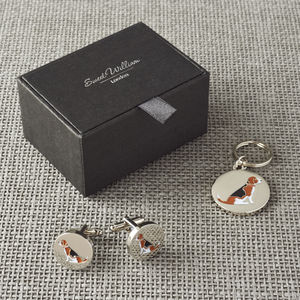 Daddy And Me Beagle Cufflinks And Dog Tag Set