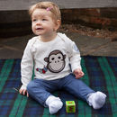 Baby's Organic Long Sleeve T With Monkey+Bob