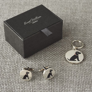 Daddy And Me Cocker Spaniel Cufflinks And Dog Tag Set - cufflinks