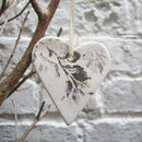 Porcelain Gold Leaf Heart Christmas Decoration