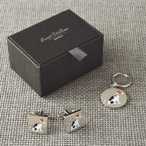 Daddy And Me Jack Russell Cufflinks And Dog Tag Set - personalised