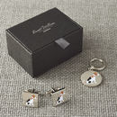 Daddy And Me Jack Russell Cufflinks And Dog Tag Set