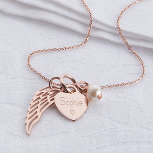 Personalised Rose Gold Heart And Angel Wing Necklace - necklaces & pendants