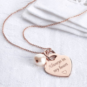 Personalised Rose Gold Heart Charm Necklace - women's jewellery