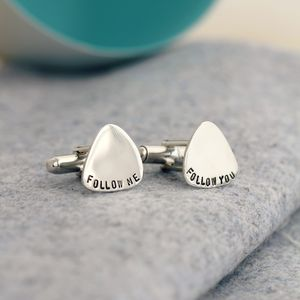 Personalised Plectrum Cufflinks