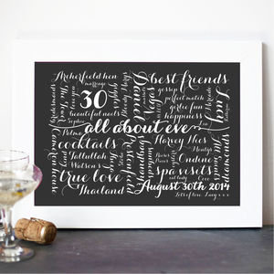 Personalised Calligraphy Birthday Print - best for birthdays