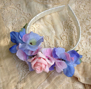 Blue Floral Wedding Hairband - hats, hairpieces & hair clips