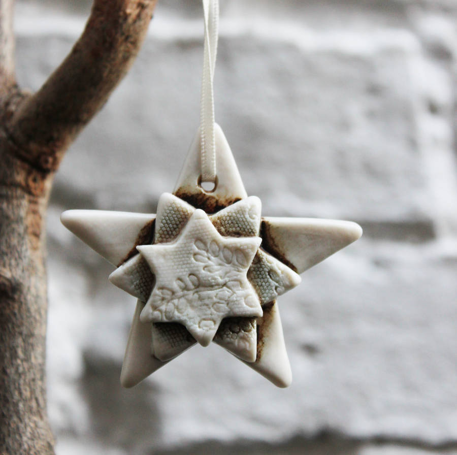 Porcelain Star Christmas Decoration