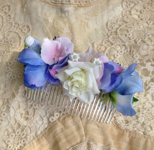 Blue Floral Hair Comb - hats, hairpieces & hair clips