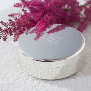 Silver Personalised Trinket Box - storage