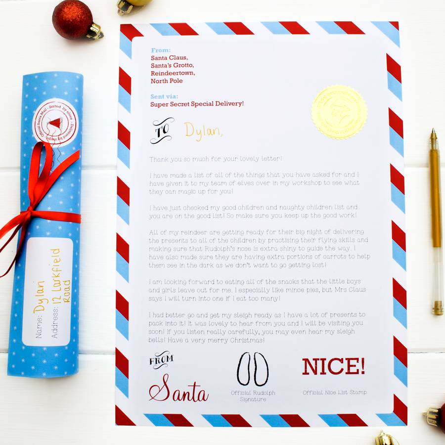 Personalised letter from santa scroll by joanne hawker for Scroll letter from santa