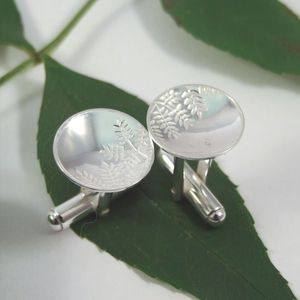 Sterling Silver Ash Leaf Cufflinks