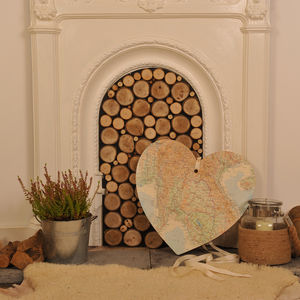 Giant Personalised Vintage Map Heart - room decorations