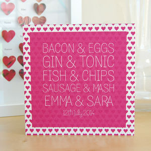 Same Sex Bacon And Eggs Engagement Or Wedding Card - cards
