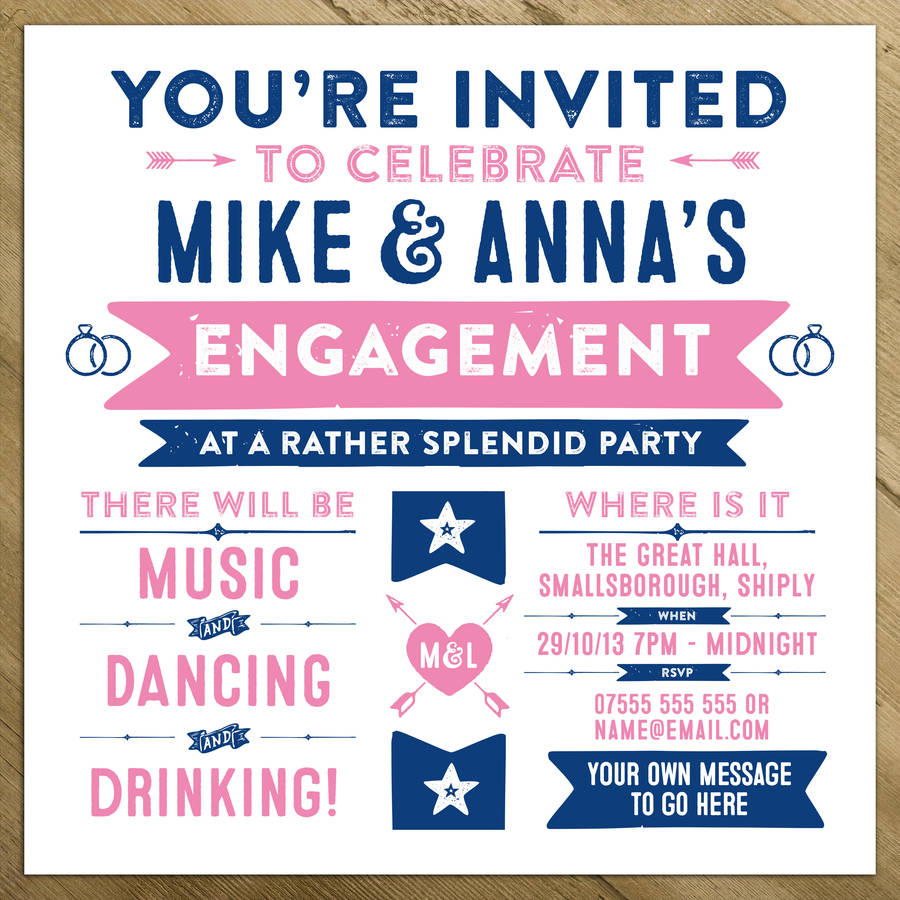 Wedding engagement birthday party invitations by a is for Invitation for engagement party