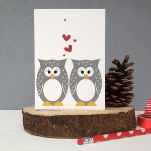 Mr And Mrs Owl Wedding Anniversary And Valentines Card - wedding cards & wrap