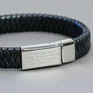 Engraved Handwriting Black Leather Bracelet - men's sale