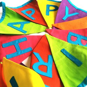 Happy Birthday Bright Bunting - baby's room