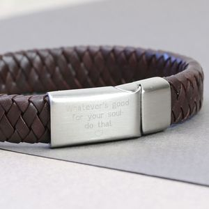Engraved Handwriting Brown Leather Bracelet - by year