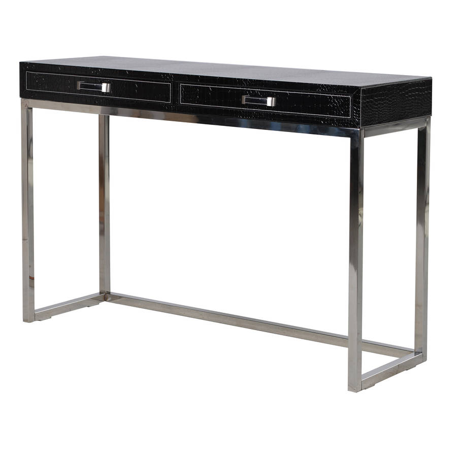 Faux Croc Leather Console Table By Out There Interiors