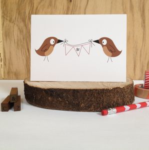 Birds And Bunting Wedding Or Anniversary Card