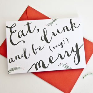 'Eat, Drink And Be Very Merry' Christmas Card Pack - christmas cards