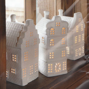 Three Porcelain Christmas Tealight Houses - christmas home accessories
