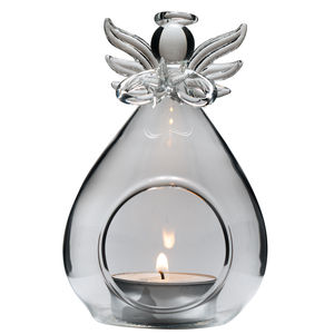 Glass Angel Tea Light Holder - lighting