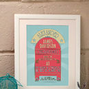 Personalised Retro Style Christening Print
