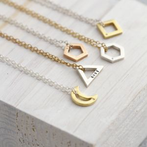 Personalised Mini Geometric Charm Necklace - geometric shapes