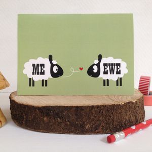 ' Me And Ewe ' Sheep Valentines Day Card With Sticker - wedding cards