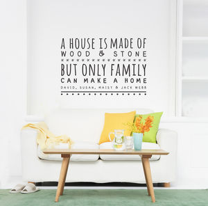 Only Family Can Make A Home Wall Sticker