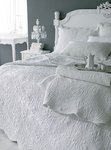 Off White French Style Quilted Single Bedspread Set - bed, bath & table linen