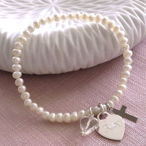 Girl's Personalised Silver Christening Pearl Bracelet - christening jewellery