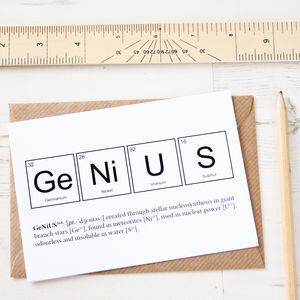 Nerd Or Genius Funny Periodic Table Cards - exam congratulations cards