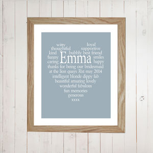 Personalised Bridesmaid Thank You Heart Print - home accessories