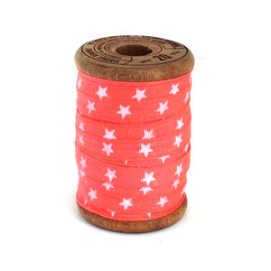 Neon Orange Star Grosgrain Ribbon