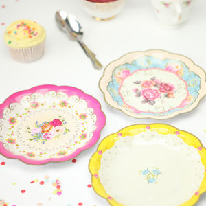 Vintage Floral Tea Plates - decoration