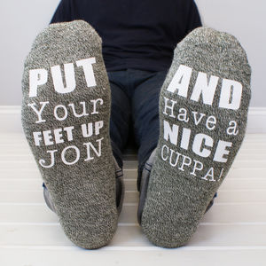 Personalised 'Put Your Feet Up' Men's Socks