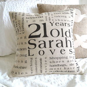 Personalised Birthday Cushion Cover - 21st birthday gifts