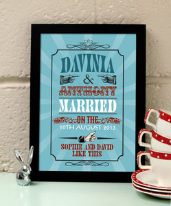 Personalised 'Likes' Wedding Art Print