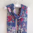 Painted Flower Print Scarf