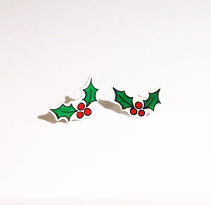 Holly Stud Earrings - christmas parties & entertaining