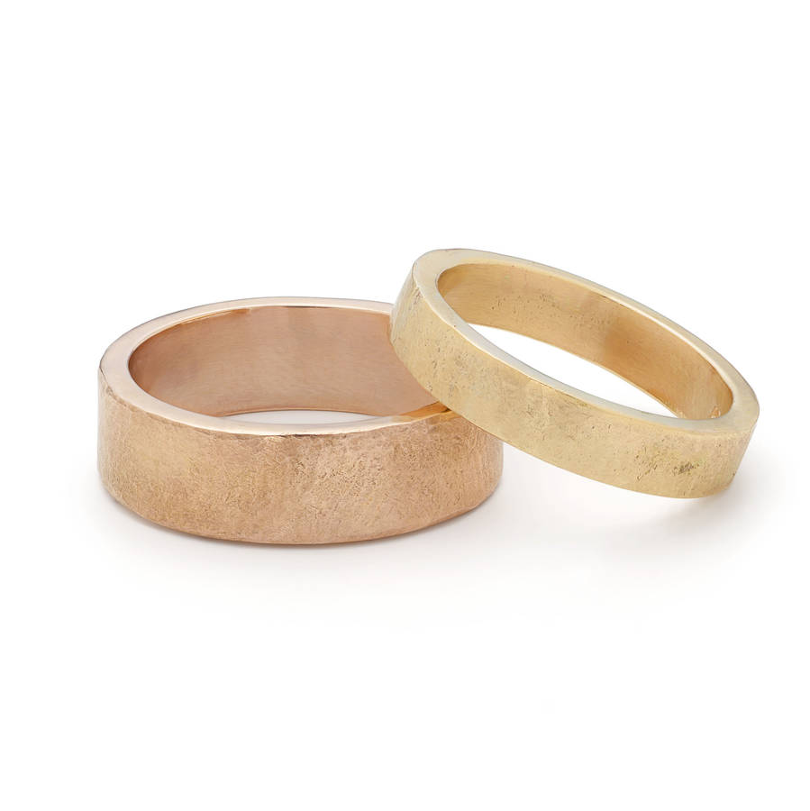 comfort wedding men wide fit for gold unisex organic texture ring yellow bands unique women band media