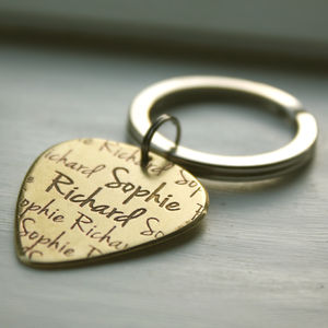 Personalised Plectrum Keyring - gifts for him