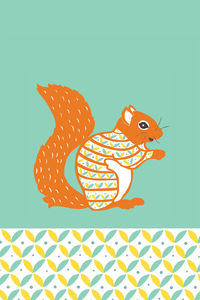 Decorative Squirrel Teatowel