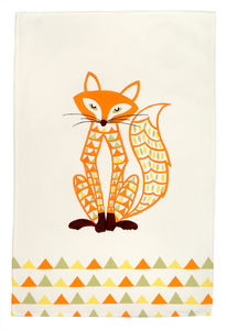 Decorative Fox Teatowel - tea towels